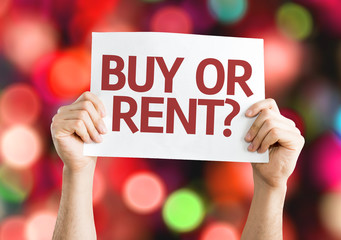 Buy or Rent? card with colorful background