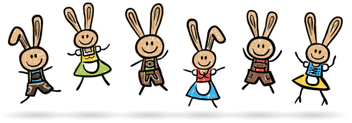 6 lustige Osterhasen beim Freudensprung – handgezeichnet