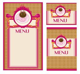 menu coffee shop and restaurant set