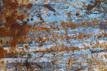 rust on blue painted metal texture, classic text background, met