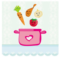 funny vegetables jumps into the soup