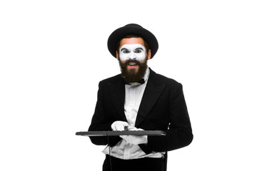 mime as a businessman holdinga keyboard