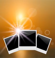 Set photo frame on blurred sunrise seascape