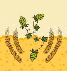 Beer background with hop leaves and wheats