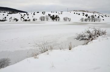 Winter in der Rhön -  Stausee Grimmebachtal