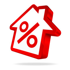 House Icon Percent Sign Red