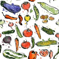 seamless pattern with drawing vegetables