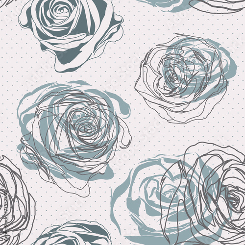 Vector seamless background. Vintage style. Floral ornament. © ka_lou