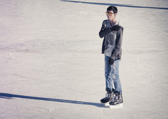 Young man at the ice rink