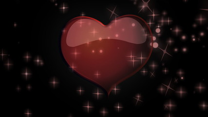 Red heart floating among stars animation for Valentine's day