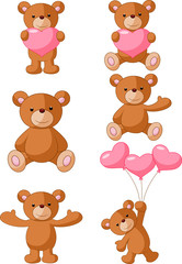 Cartoon bear with pink heart collection set