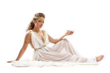 Classical Greek Goddess in Tunic Holding Bowl