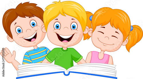 Kids Cartoons Reading Cartoon Kids Reading Book