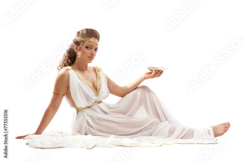 Classical Greek Goddess in Tunic Holding Bowl Poster