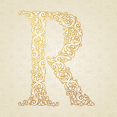 Gold font type letter R, uppercase.