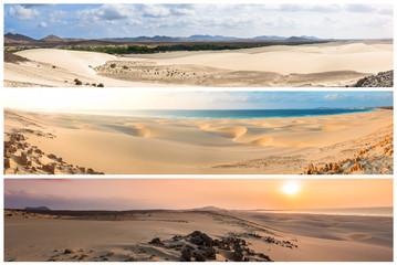 Picture montage of Boavista island landscapes  in Cape Verde arc