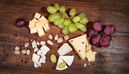 Cheese board. Various types of cheese.