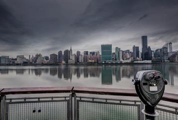 Manhattan New York cloudy dramatic skyline USA