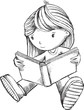Girl Reading Book Sketch Vector Illustration Art