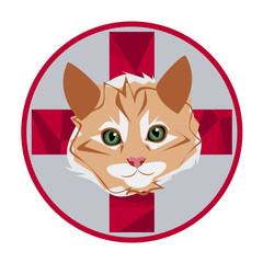 logo veterinary with red cat