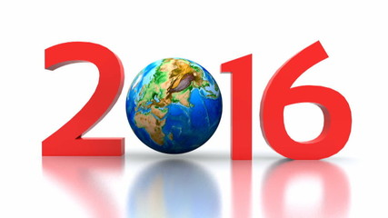 video animation of the new year with globe - 2016