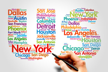 US, cities names word cloud travel concept