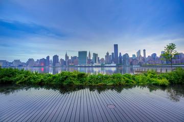 Manhattan New York skyline at sunset East River