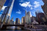 Chicago River Walk with urban skyscrapers, IL, United States - Fine Art prints