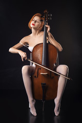 Girls in erotic lingerie playing cello