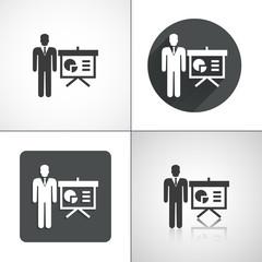 Businessman, man, schedule icons. Set elements for design