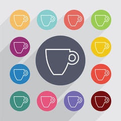 coffee outline circle, flat icons set