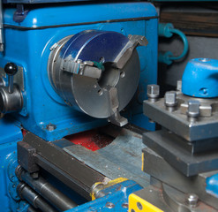 Close-up of lathe