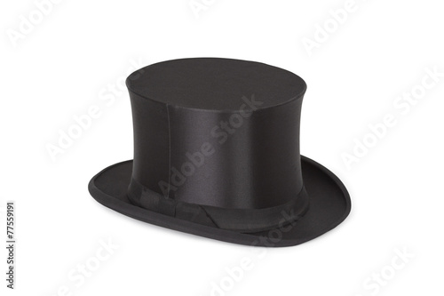 Leinwandbild Motiv Alte Zylinder. Black top hat on white