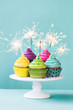 Cupcakes with sparklers - 77559511