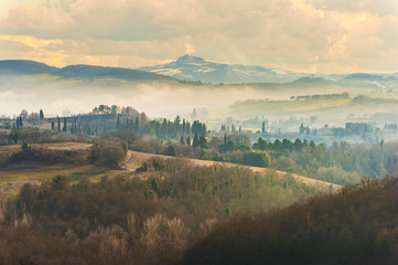Mountain forests in view of the Tuscan landscape.
