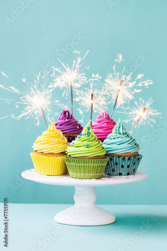 Poster Koekjes Cupcakes with sparklers