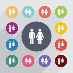 man and woman circle, flat icons set