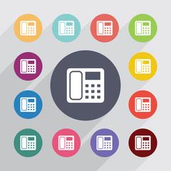 telephone circle, flat icons set