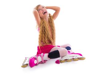 blond pigtails roller skate girl sitting happy