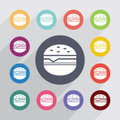 sandwich circle, flat icons set