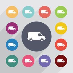 van circle, flat icons set