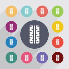 tire circle, flat icons set