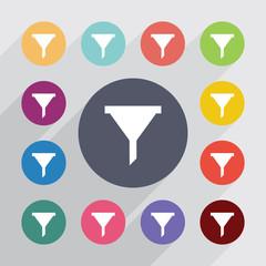 filter circle, flat icons set
