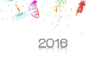 Video animation of the new year 2016 with fireworks