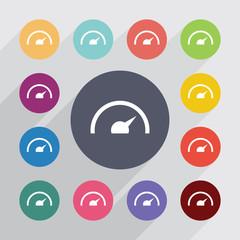 speedometer circle, flat icons set