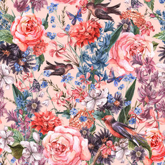 Floral seamless watercolor background