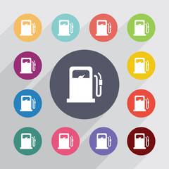 petrol station circle, flat icons set