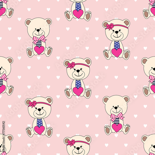 Seamless pattern with Bear for  Valentine's Day - 77560542