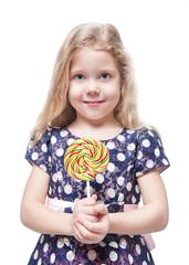 Beautiful little girl with lollipop isolated
