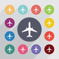 airplane circle, flat icons set